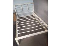 3/4 sized white metal bedframe