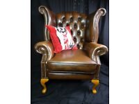 Leather Chesterfield High Back Wing Chairs Wanted Cash Paid