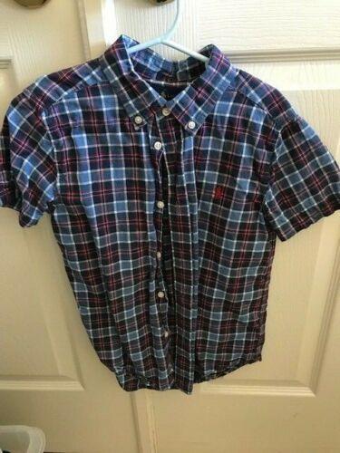 "Boys Polo Ralph Lauren Blue/red Plaid Button Down Short Sleeve Shirt Size 7 ""euc"
