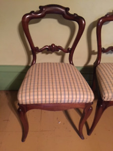 8 Antique parlour Chairs -4 Pink Velvet - 4 Plaid