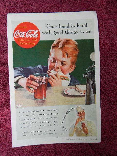 1935 Vintage Coke Coca Cola Soda Original Magazine Ad Goes Hand In Hand Boy
