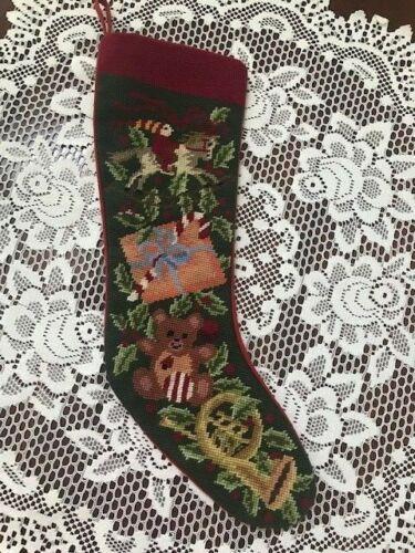 Sferra NEEDLEPOINT CHRISTMAS STOCKING - Horse Bear Horn