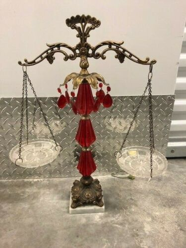 Vintage Brass Scale of Justice Red Lead Crystal