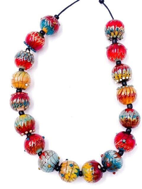 MAGMA HANDMADE ROUND GLASS LAMPWORK RED BLUE ORANGE YELLOW BEADS REGIS TEIXERA