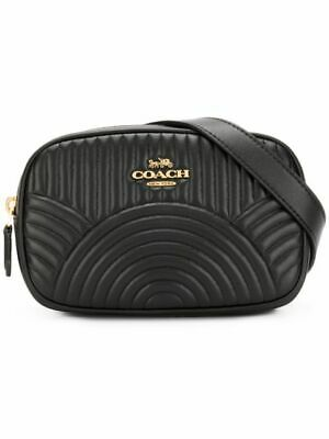 Coach Black Leather Belt Bag With Deco Quilting Crossbody Bag Bum Bag