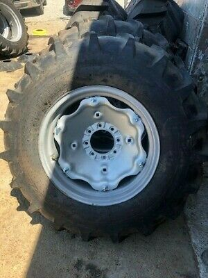 Four 14.9x24 John Deere Ford 8 Ply Easy Repair Tractor Tires Wwheels Centers