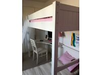 Aspace Child's high sleeper bed (white) with desk/chair/mattress. Very Good Condition