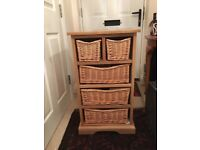 Farmhouse 5 Basket Drawer Oak Wood Chest Storage Unit Cabinet Cotswold Company Brand New In Box