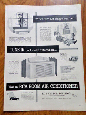 1952 RCA Room Air Conditioner Ad Tune Out Tune In