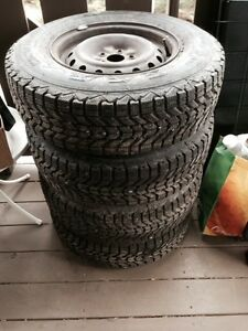 Firestone Winter Force Tires on Rims, mud and snow