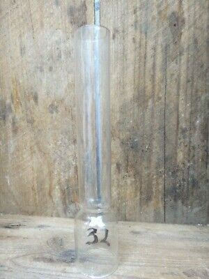 VINTAGE STRAIGHT GLASS OIL LAMP CHIMNEY  (LOT 32)