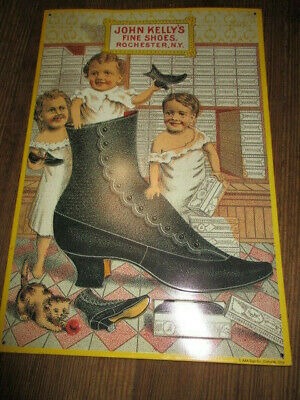 AAA Sign Co. John Kelly's Fine Shoes Rochester N. Y. Repro Tin Sign Nice!, used for sale  Winsted