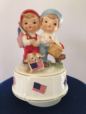 Price Import Japan  Girl & Boy, Dog, US Flag Wind Up Music Box