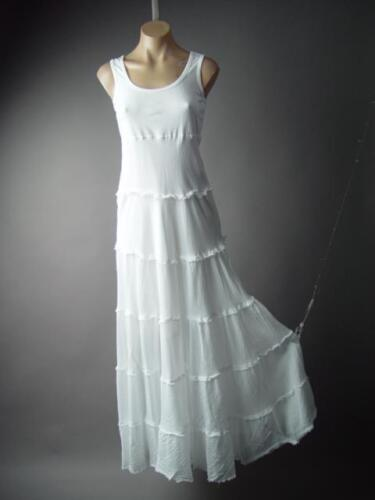 Victorian Boho Medieval Peasant Cotton Tiered Chemise Day...