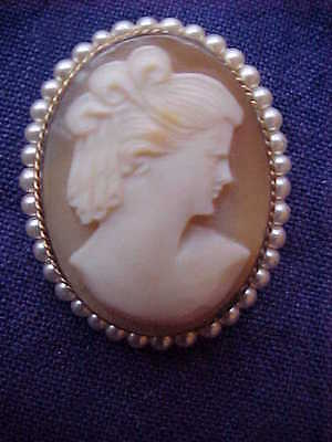 Gold Filled faux pearl and carved shell cameo brooch