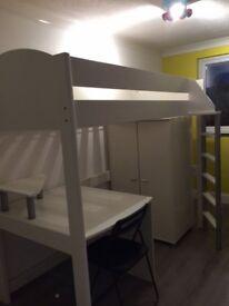 Single (White) Bunk Bed with Wardrobe & Desk