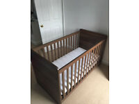 Dark Wood effect Cot and Mattress- Hardly used - V good condition-Collection/Ainsworth