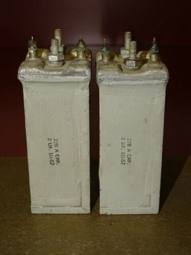Pair, Western Electric Type 228A Oil Capacitors, 2 MFD, Good