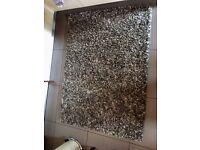 ASPEN GREY / BROWN SHAG PILE RUG 6 ft x 4 ft