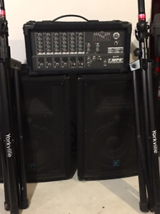 Yorkville PA System MP6D2 powered Mixer w 2 speakers plus stands