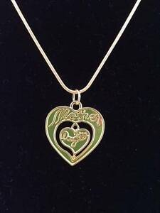 Gold Mother Daughter Heart Necklace On Gold Snake Chain - New Lawnton Pine Rivers Area Preview