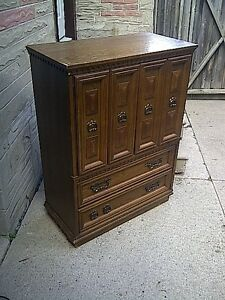 Solid wood stand up dresser for sale.