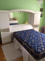 bed  and headboard unit