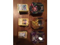 Pokemon cards and 3x tins