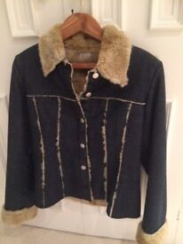 High Quality Italian Designer Denim Jacket by Pinko with Faux Fur lining - small size 12