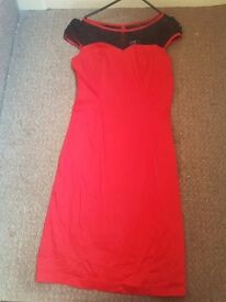 Retro red and black lace wiggle dress