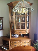 REDUCED Moving! 8pc Oak display&wall unit, bar unit, side stands