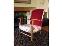 vintage chair, solid oak frame, 1920's/1930's, art deco, refurbished, courier possible****