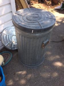Big old school metal garbage can