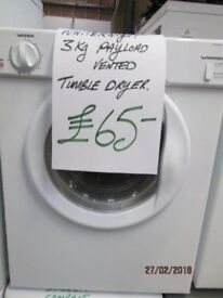 *+WHITEKNIGHT DRYER 3KG PAYLOAD/*Free Delivery*WARRANTY/GREAT CONDITION*/VERY CLEAN/