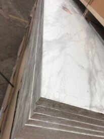 White marble 4 mtrs long matt finish worktops