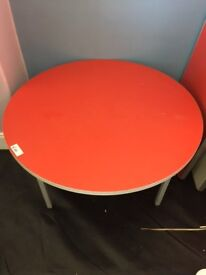 Red low round table
