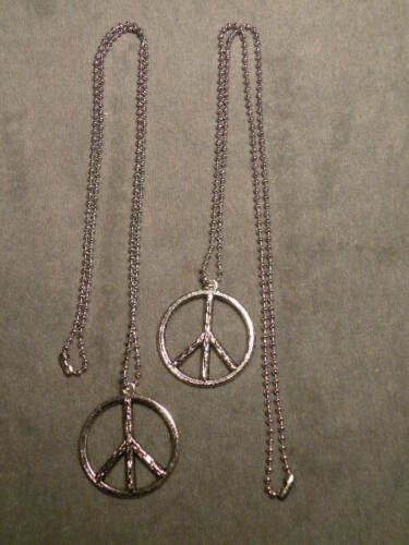 Rare Vietnam Period Peace Necklace on Dog Tag Chain