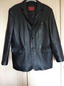 Mens black leather jacket, size M from Burton Menswear