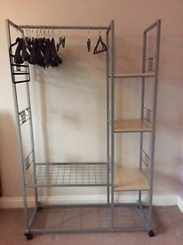 Silver Metal Clothes Rail with Wooden Shelves in excellent condition