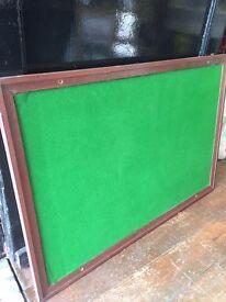 Vintage Large *NOTICE BOARD* Mahogany Finish Wooden Green Felt Reclaimed