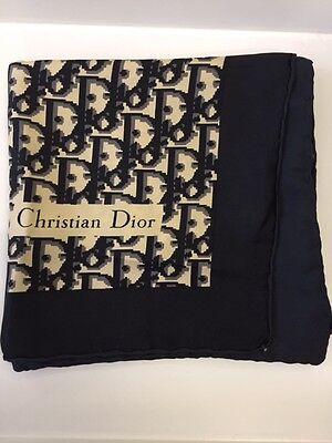 Vintage *CHRISTIAN DIOR* Large 100% Silk Scarf GENUINE Monogram Black Cream Grey