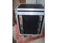 FLIGHT CASE 8u SIZE - WHEELED / FITTED FAN - USED CLEAN CONDITION- ONLY £120
