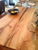 LIVE EDGE TABLE MAPLE WOOD SLAB DESK DINING TABLE WITH SLAB LEGS