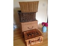 Four wicker boxes / baskets