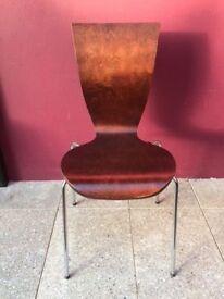 Walnut veneered stacking chairs