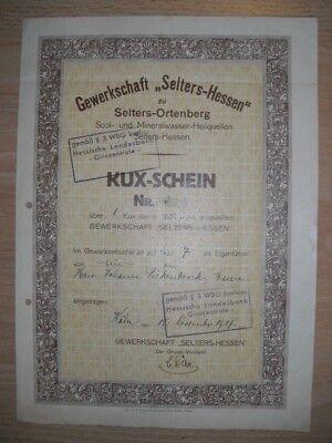 Kux: Gewerkschaft Selters Sool u. Mineralwasser Heilquellen  1929