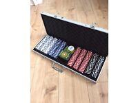 Poker Chips Set - 7kg 500 Piece Poker Set in carry case (dealer button, 2 x cards + chips)
