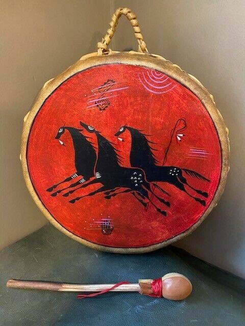 Hand Painted Drum, Phillip C. Martinez, Taos Pueblo, Native American Drum