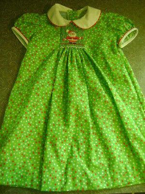 Green Santa Dress (GIRLS VELANI CLASSICS Green Polka Dot Smocked Santa Holiday Rickrack Dress Sz)