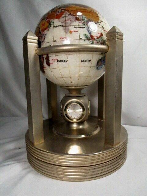 Kalifano Gemstone World Globe Mother Of Pearl 24k Gold Plated Rotating